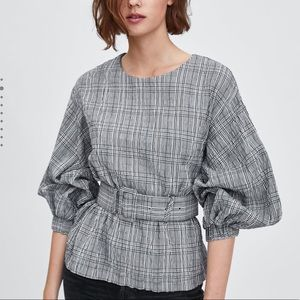 Zara | Belted Plaid Blouse XS